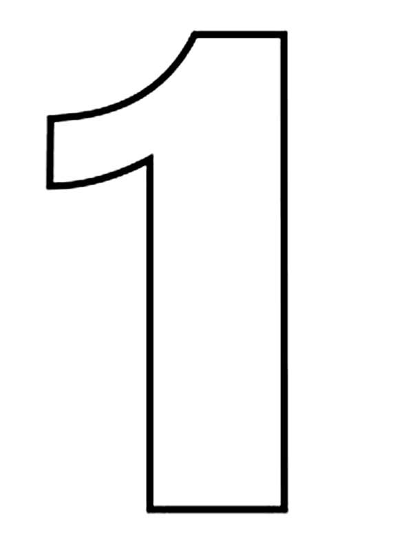 Line Drawing Numbers : Number one drawing coloring page netart