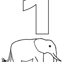 Number One and Elephant Coloring Page