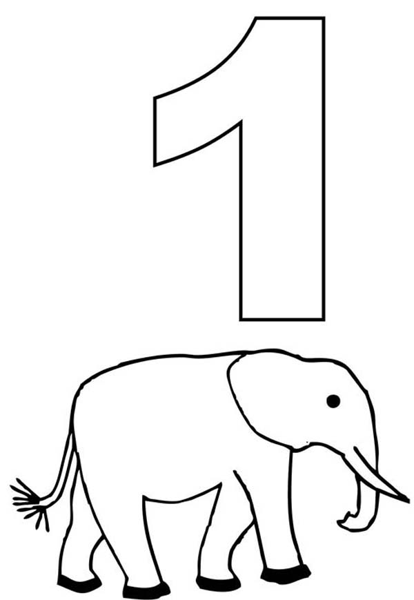 number one and elephant coloring page netart - One Coloring Page