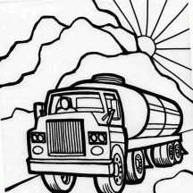 Oil Carrier Semi Truck Coloring Page
