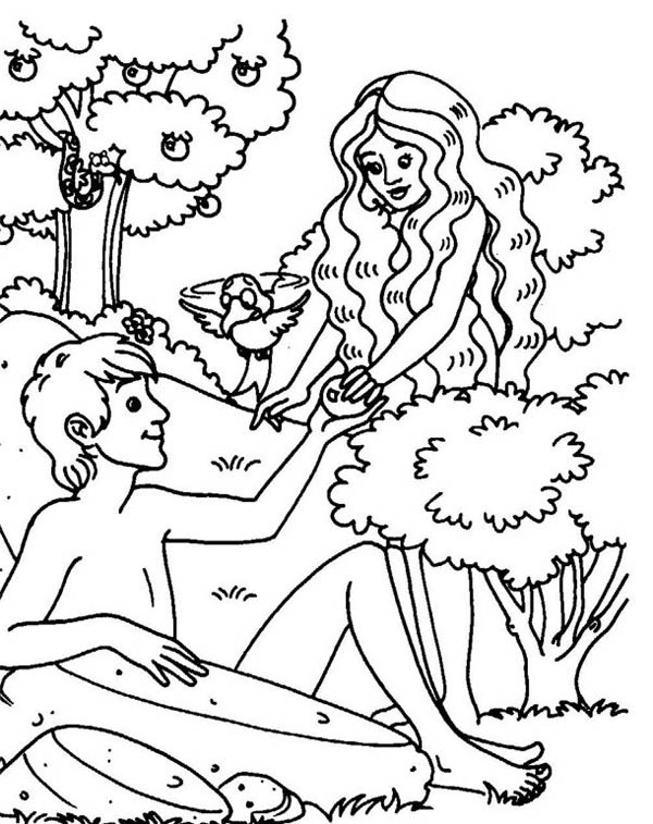 Original Sin of Mankind in Garden of Eden Coloring Page NetArt