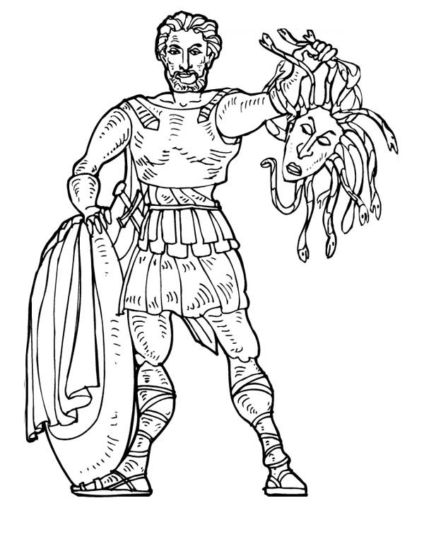Perseus From Greek Gods And Goddesses Who Kill Medusa Coloring Page