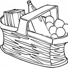 Picnic Food in the Basket Coloring Page