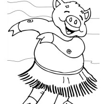 Piggy Hawaiian Hula Dance Coloring Page