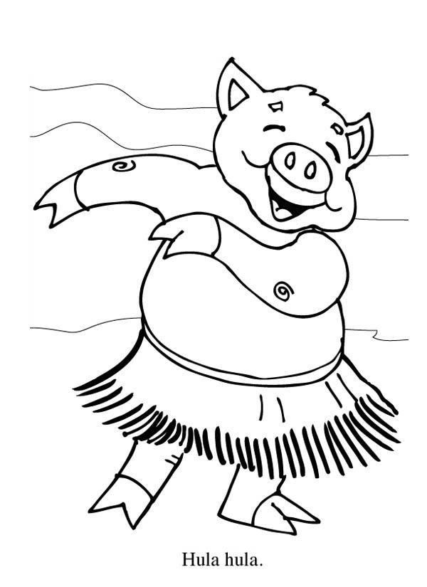 Piggy Hawaiian Hula Dance Coloring Page