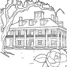 Plantations House in Houses Coloring Page