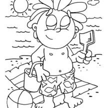 Playing Sand Castle at Hawaiian Beach Coloring Page