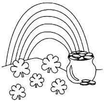 Pot of Gold on St Patricks Day Coloring Page
