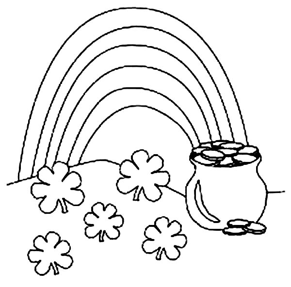 Pot of Gold on St Patricks Day Coloring Page - NetArt
