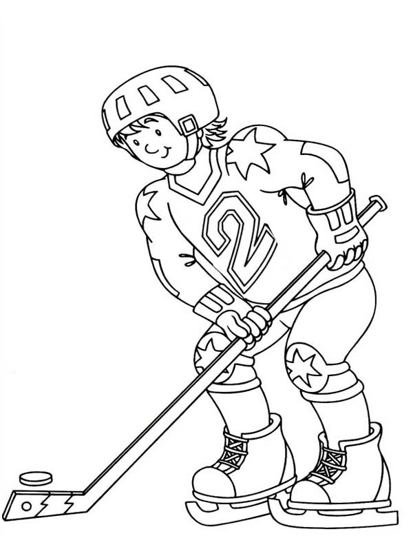 Practicing Hockey Coloring Page