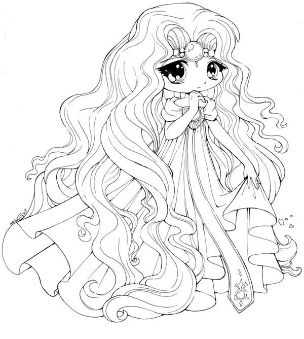 Princess Emeraude Chibi Draw Coloring Page Netart Coloring Pages Of Anime Princesses Free Coloring Sheets