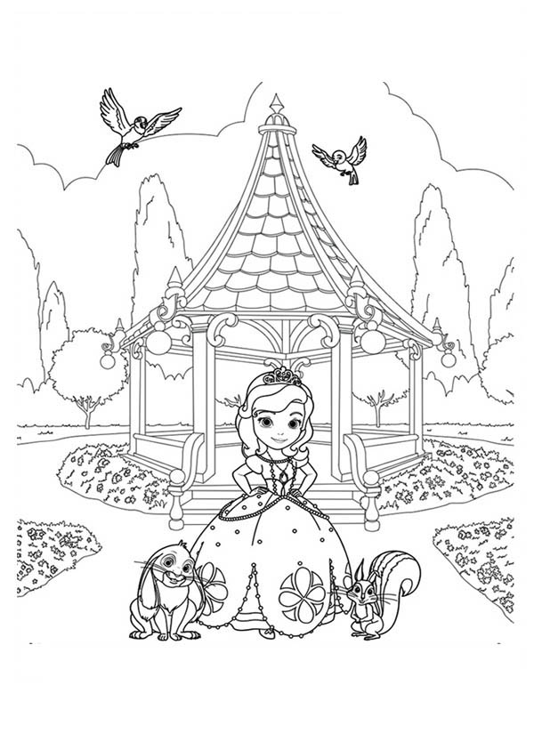 Princess Sofia and Friends at Garden in Sofia the First Coloring
