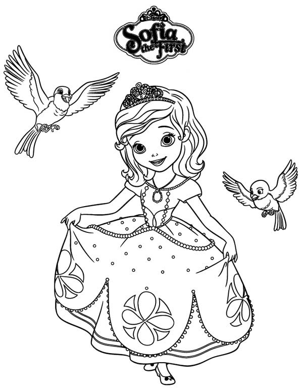 Princess Sofia and Robin and Mia in Sofia the First Coloring Page