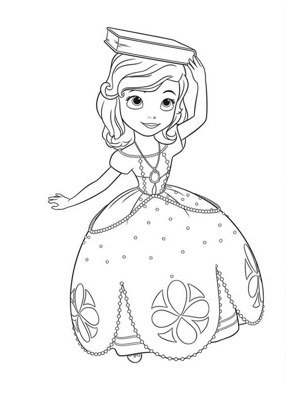 princess sofia the first with book on her head coloring page