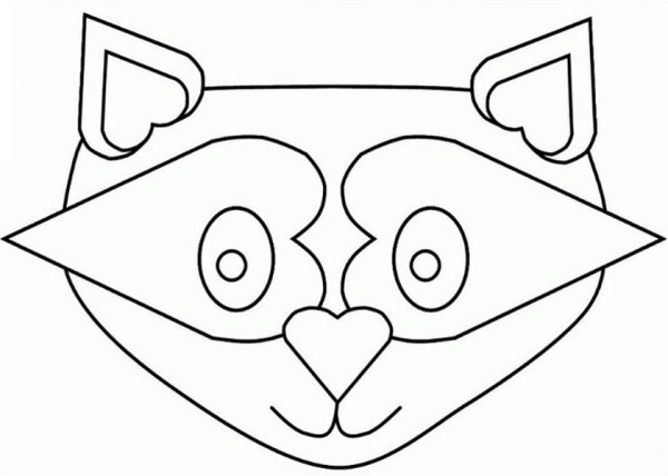 Raccoon Mask Coloring Page - NetArt Raccoon Face Coloring Page