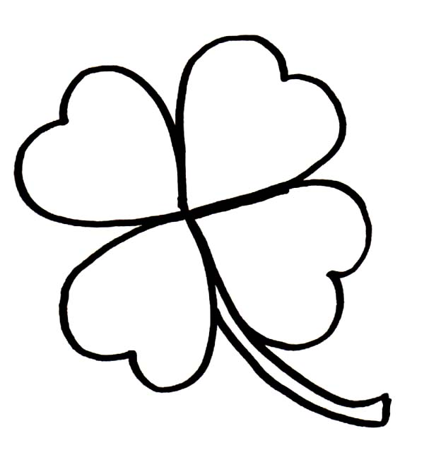 Rare Four-Leaf Clover for Good Luck Coloring Page