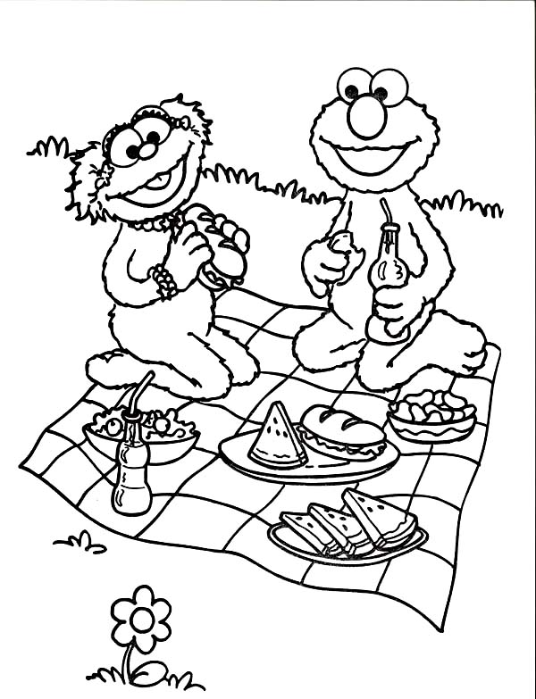 Relaxing and Eating in Picnic Coloring Page NetArt