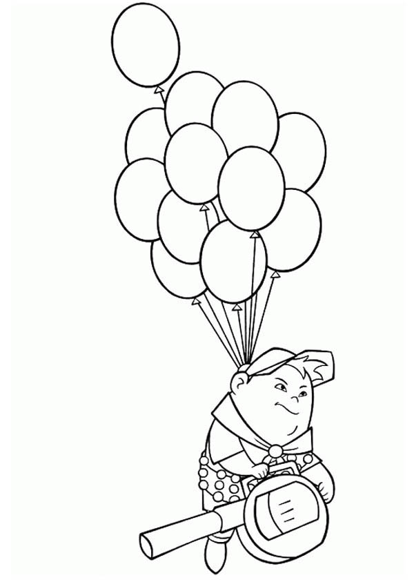 Russell Flying with Baloons in Disney Up Coloring Page - NetArt