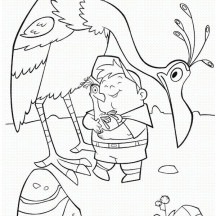 Russell Hold Kevin the Bird Baby's in Disney Up Coloring Page
