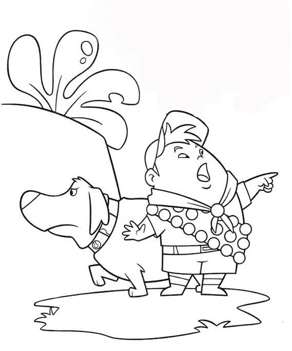 Russell Pointing The Other Way Dug Walking In Disney Up Coloring Page
