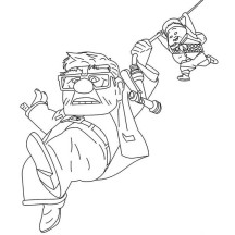 Russell and Carl Fredricksen Sliding with a Rope in Disney Up Coloring Page