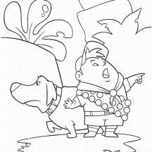 Russell and Dug Heading Different Way in Disney Up Coloring Page