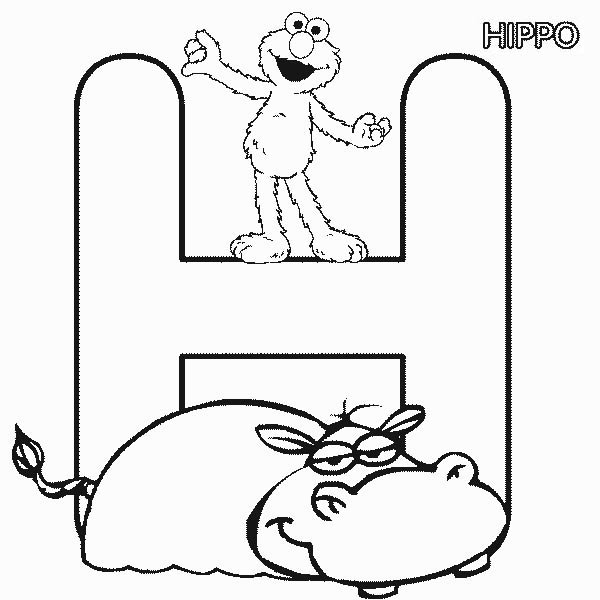 Free H For Hippo Coloring Pages