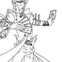 Seto Kaiba Powerful Card in Yu Gi Oh Coloring Page