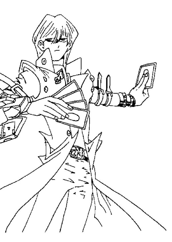 Seto Kaiba Powerful Card in Yu Gi Oh Coloring Page - NetArt