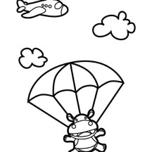 Skydiving Hippo Coloring Page