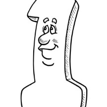 Smiling Number One Coloring Page