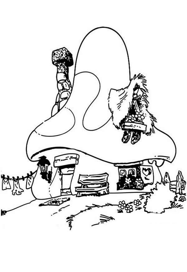Smurf house in houses coloring page netart for Smurf house coloring pages