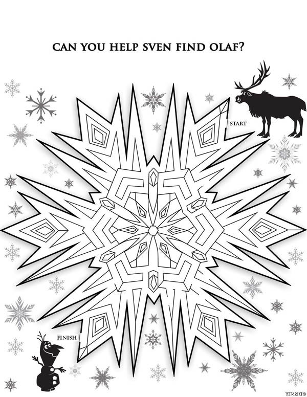 snowflakes maze coloring page - Maze Coloring Pages