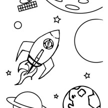Spaceship Out of Galaxy Coloring Page
