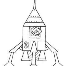 Spaceship and Teddy Bear Coloring Page