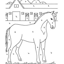 Stable Full of Horses Coloring Page