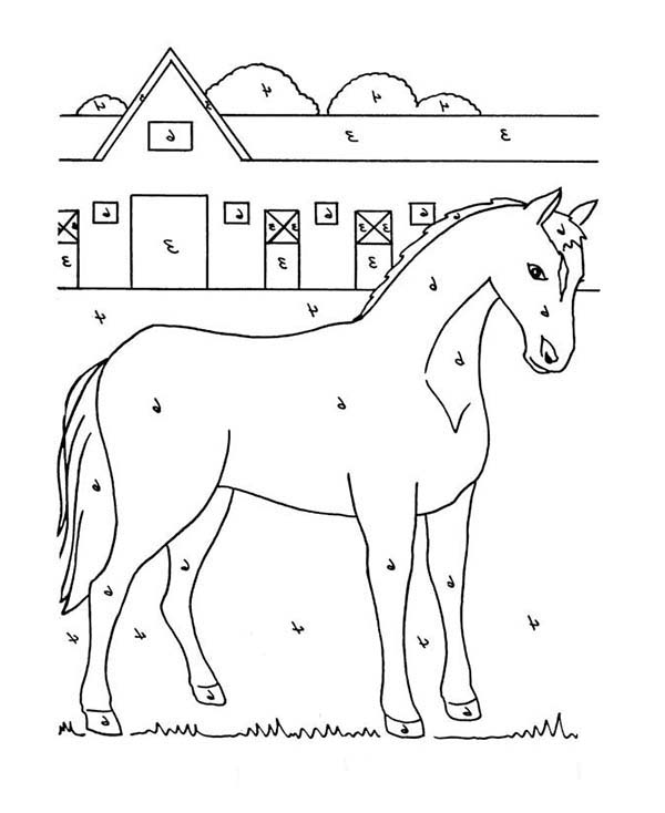 Stable Full Of Horses Coloring Page Netart