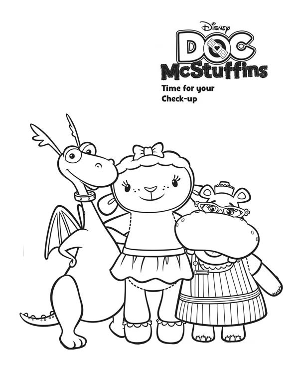 Stuffy and Lambie and Hallie Hugging in Doc McStuffins Coloring Page