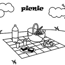 Summer Day Picnic Coloring Page