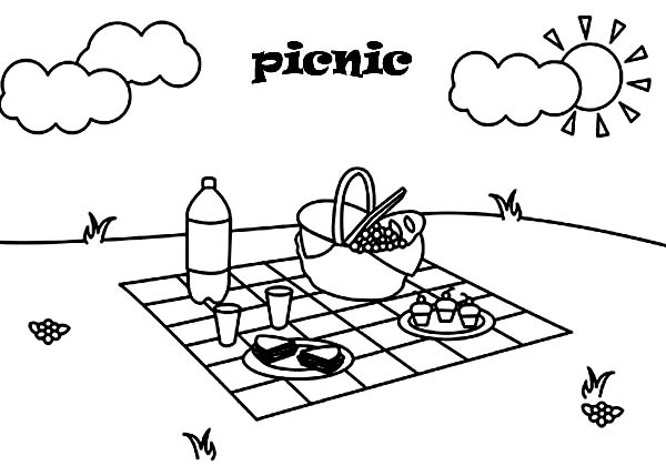 Summer Day Picnic Coloring Page NetArt