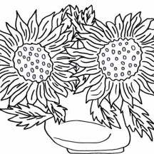 Sun Flower in the Vase Coloring Page