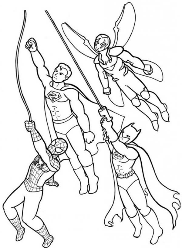Super Hero Squad Flying Together Coloring Page