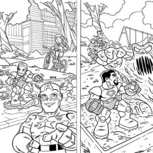 Super Hero Squad Protecting Kid on Playground Coloring Page
