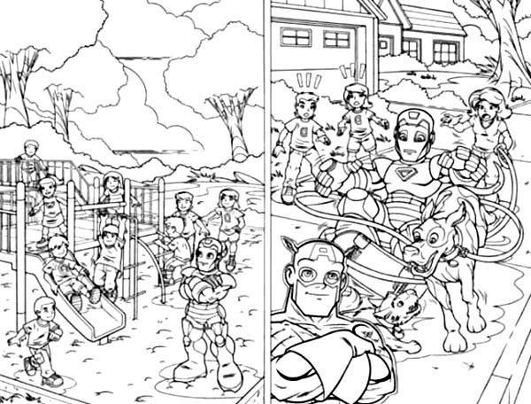 Super hero squad on playground coloring page netart for Super hero squad coloring page