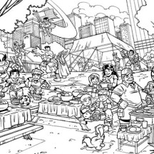 Super Heroes Picnic in Super Hero Squad Coloring Page