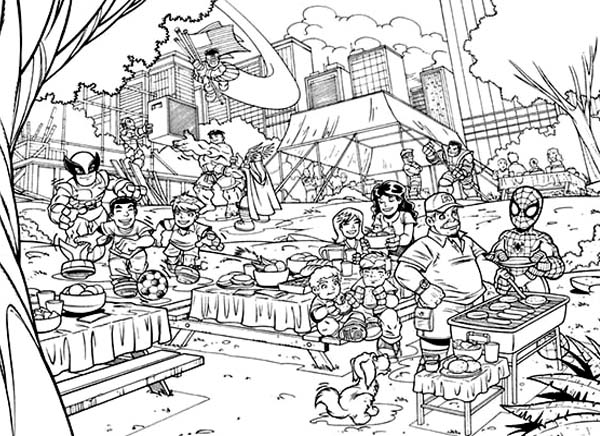 Super Heroes Picnic in Super Hero Squad Coloring Page NetArt
