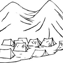 Tents Under Active Volcano Coloring Page