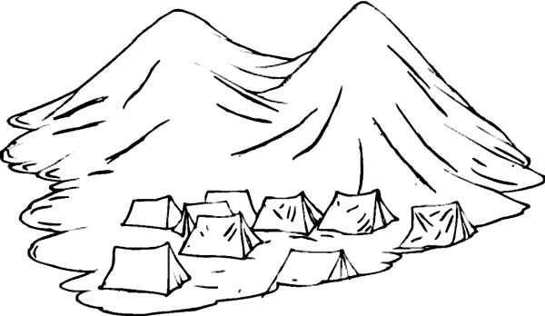 Tents Under Active Volcano Coloring Page NetArt