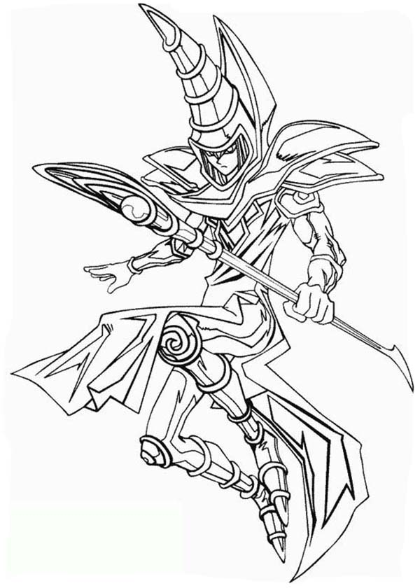The Dark Magician from Yu Gi Oh Coloring Page - NetArt