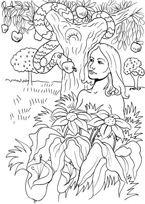 The Serpent Seduce Eve To Eat Forbidden Fruit In Garden Of Eden Coloring Page